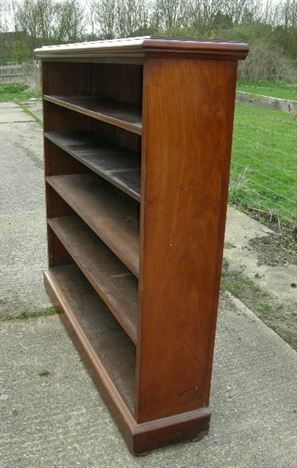 Large Antique Bookcase - Victorian Mahogany Open Bookcase With Adjustable Shelves