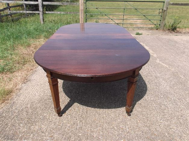 Large Antique Dining Table - 10ft 3 Metre Sheraton Revival Mahogany Demi Ended Extending Dining Table