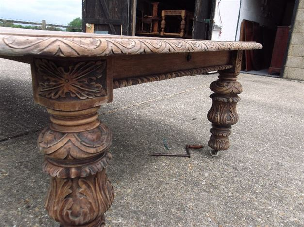large antique dining table 12ft jacobean influence victorian oak extending dining table to seat 16 - Antique Dining Table