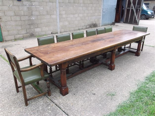 Table Nearly 13ft Jacobean Revival Walnut Refectory To Seat 14