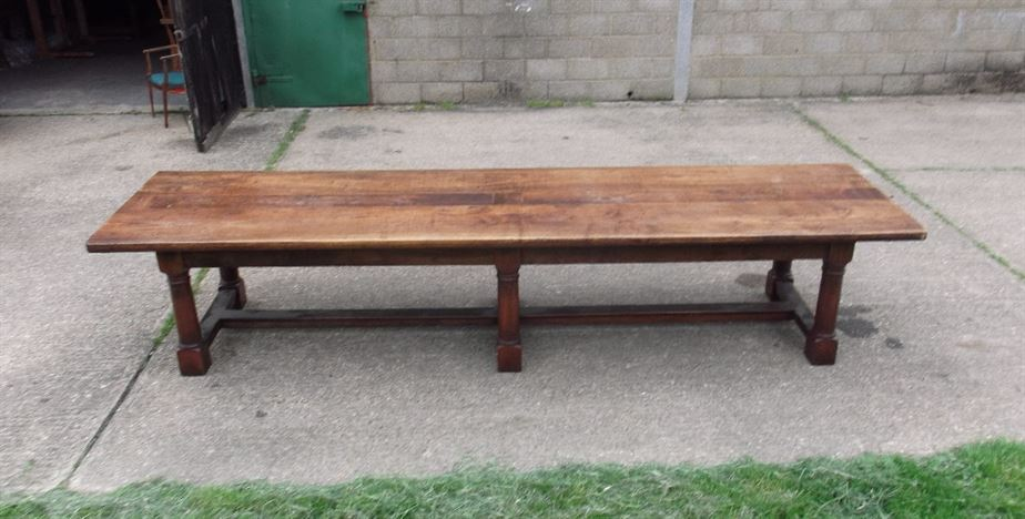 Large Antique Dining Table - Nearly 13ft Jacobean Revival Walnut Refectory Table To Seat 14 People