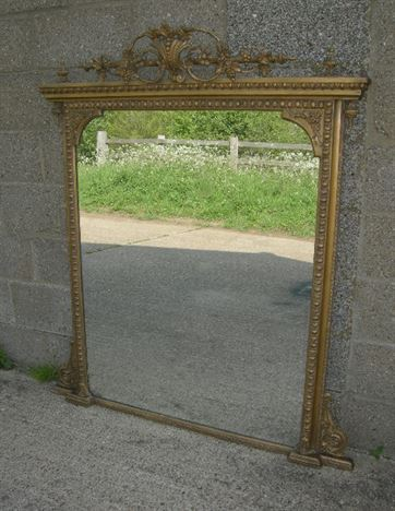 Large Antique Gilt Mirror - Early 19th Century English Georgian Gilt Overmantel Mirror
