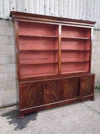 Large Antique Library Bookcase - Early 19th Century Mahogany Library  Bookcase - ANTIQUE FURNITURE WAREHOUSE - Large Antique Library Bookcase - Early