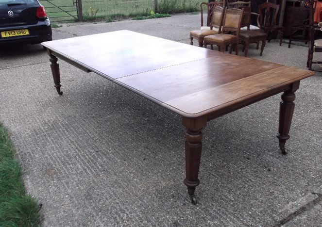 Large Antique Mahogany Extending Table - William IV Post Regency Mahogany 10ft Mahogany Extending Dining Table