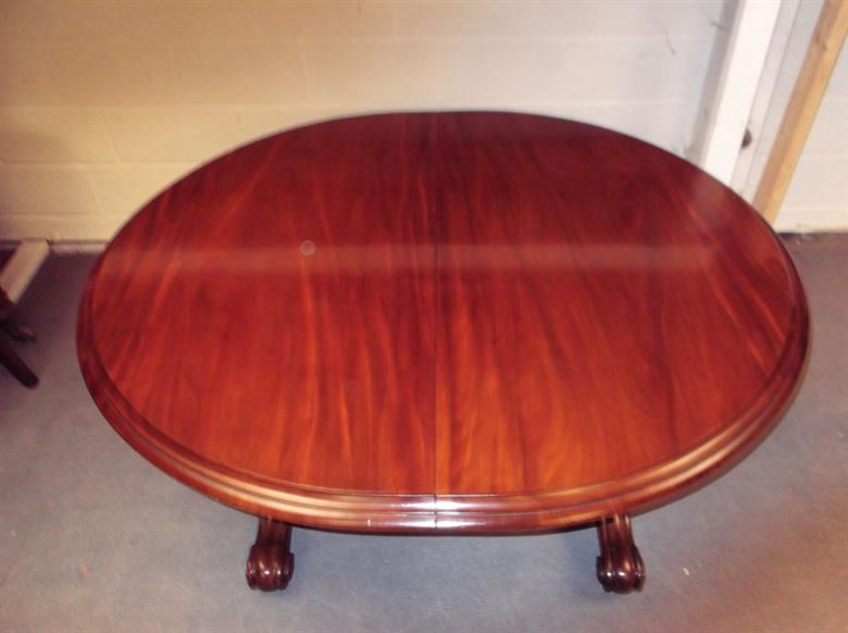 Large Antique Mahogany Table   4 Metre Mid Victorian Round Ended Extending  Dining Table On Carved