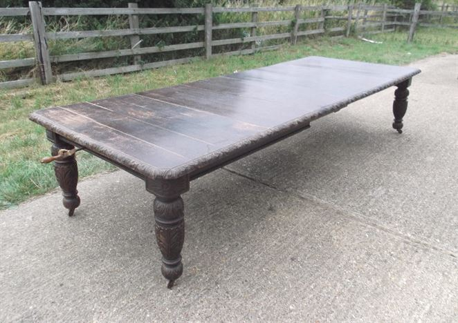 Large Antique Oak Dining Table - Late 19th Century Jacobean Carved 12ft Extending Oak Dining Table