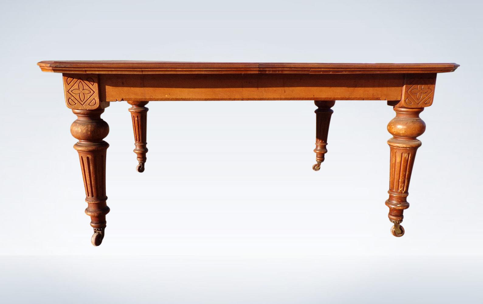 Large Antique Oak Extending Dining Table Victorian Period With Canted Corners