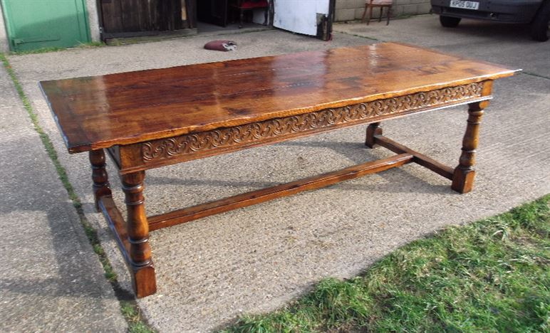 Large Antique Oak Refectory - 2.5 Metre 8ft Jacobean Oak Carved Refectory Table