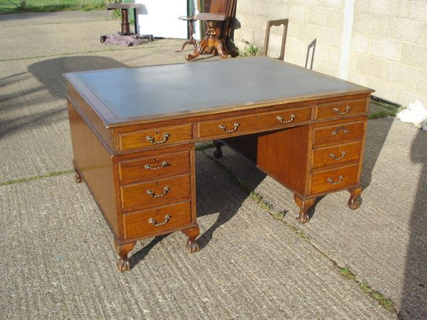 Large Antique Partners Desk - 6ft Wide Georgian Revival Mahogany Partners Desk