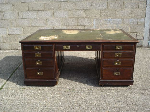 Large Antique Partners Desk - 6ft X 4ft Victorian Mahogany Campaign Partners Desk By Sopwith & Co Of Newcastle
