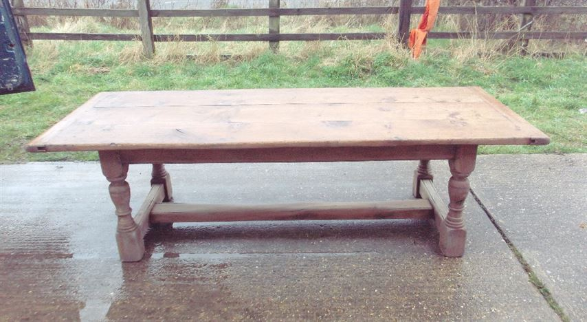 Large Antique Refectory Table - 8ft Jacobean Oak Plank Top Refectory Table To Seat 10 People Comfortably
