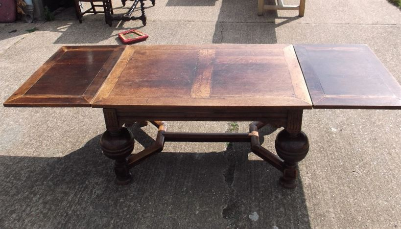 Large Antique Refectory Table - Jacobean Revival Oak Drawleaf Refectory Table Of Wide Proportions