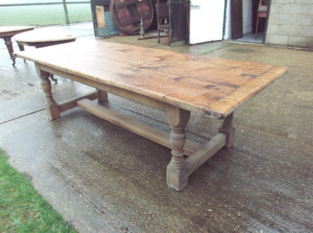 Large Antique Refectory Table   Jacobean Revival Oak Drawleaf Refectory  Table Of Wide Proportions