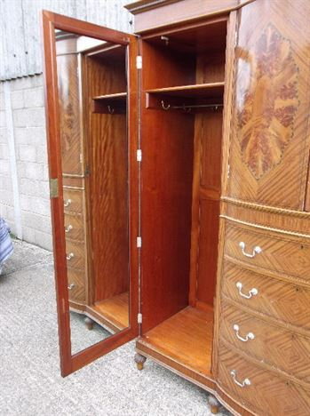 Large Antique Wardrobe - Late Victorian Satinwood Fully Fitted Wardrobe