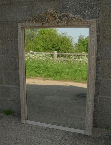 Large French Painted Mirror - 19th Century French Painted Overmantel Mirror