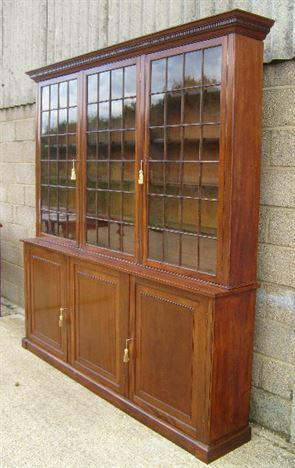 Large Georgian Library Bookcase - Early 19th Century Mahogany Library Bookcase With Glazed Top And Cupboard Base