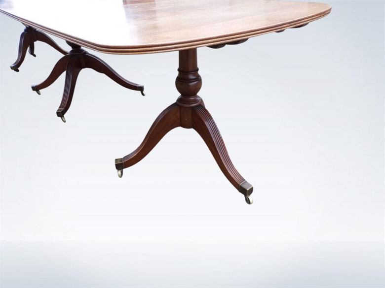 Large Narrow Antique Regency Mahogany Dining Table Pedestal Bases