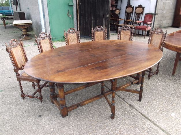 Large Oavl Antique Oak Table - 8ft  Charles II Revival Oak Drop Leaf Table