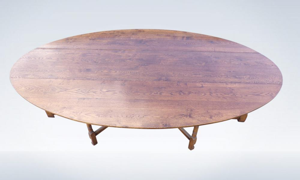 Large Oval Antique Oak Farmhouse Table - Georgian Manner Wake Or Hunt Table 3 Metres