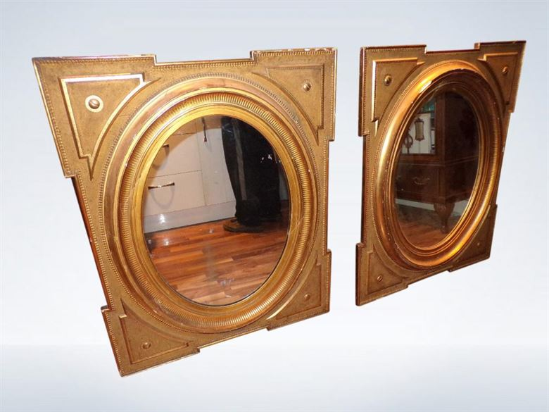 Large Pair Antique Gilt Mirrors Victorian Wall Portrait Or Landscape Late 19th Century Victorian