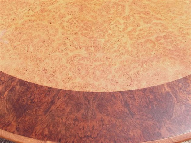 Large Round Antique Table - 2 Metre Diameter Vintage Regency Manner Burr Walnut Dining Table