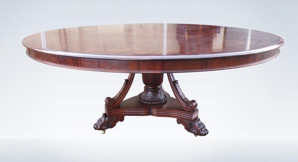 Large Round Antique Table Regency Mahogany 6ft Diameter