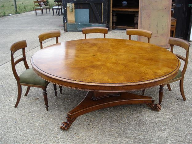 antique furniture warehouse large round dining table 6ft diameter regency revival burr oak. Black Bedroom Furniture Sets. Home Design Ideas