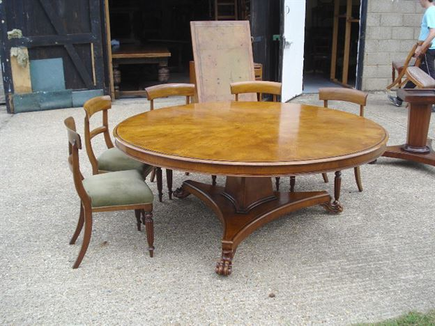 Superbe Large Round Dining Table   6ft Diameter Regency Revival Burr Oak Dining  Table To Seat 10