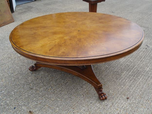 Large Round Dining Table   6ft Diameter Regency Revival Burr Oak Dining  Table To Seat 10