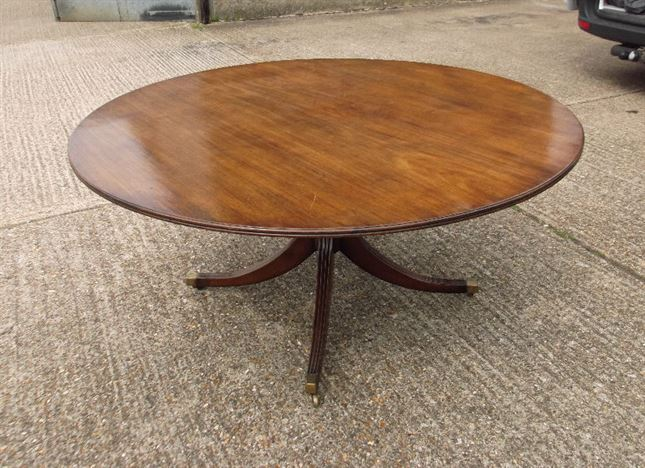 Large Round Georgian Table   Antique Regency Revival 5ft Diameter Mahogany Dining  Table To Seat 8 People