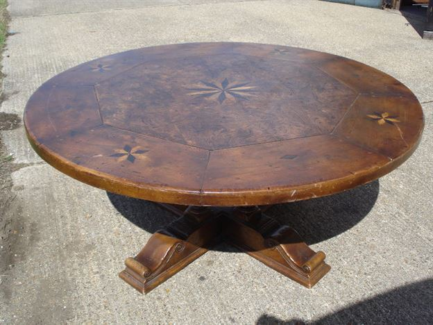 Antique furniture warehouse large round walnut dining for 6ft round dining table