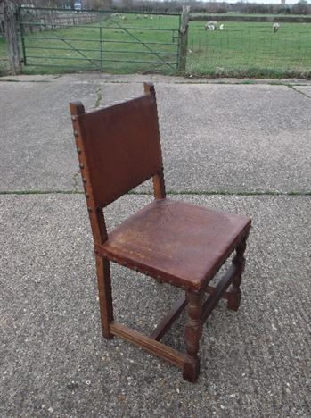 Large Set Of Antique Chairs   Set Of 12 Twelve Cromwellian Revival Oak And  Leather Dining