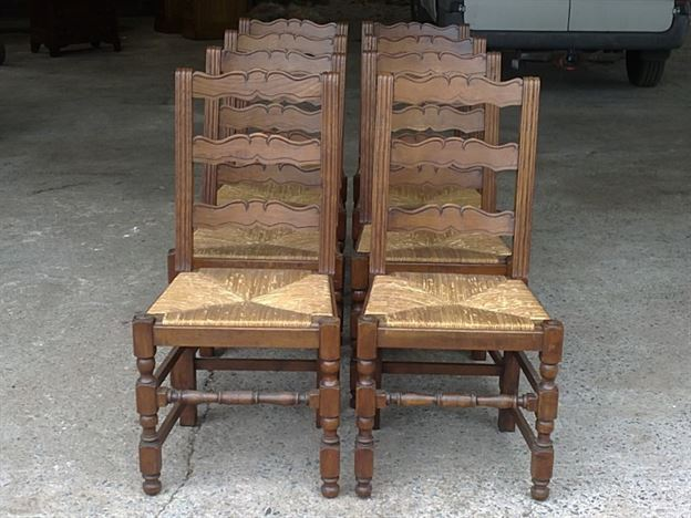 Large Set of Antique Chairs - Set of Eight 8 French Provincial Oak Ladder  Back Dining Chairs with Rush Seats - Antique Furniture UK, Bay Antiques, Elisabeth James Antiques