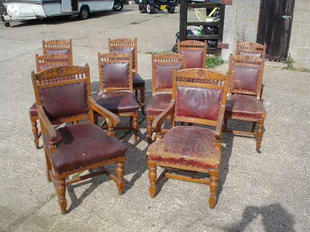 Large Set of Antique Chairs - Set of Ten 10 Victorian Oak Arts and Crafts  Dining Chairs - Antique Furniture UK, Bay Antiques, Elisabeth James Antiques