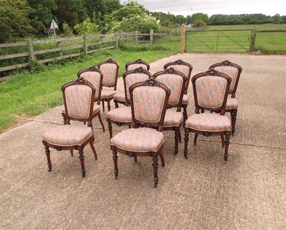 Large Set Of Antique Dining Chairs   Set Of 10 French Louis XVI Influence  Late 19th Century Walnut Dining Chairs Part 81