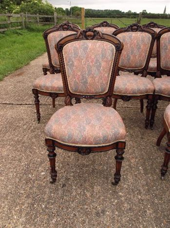 Large Set Of Antique Dining Chairs - Set Of 10 French Louis XVI Influence  Late 19th - ANTIQUE FURNITURE WAREHOUSE - Large Set Of Antique Dining Chairs