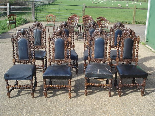 Large Set Of Antique Dining Chairs   Set Of 8 Eight Victorian Carolean  Revival High Back Carved Oak Chairs
