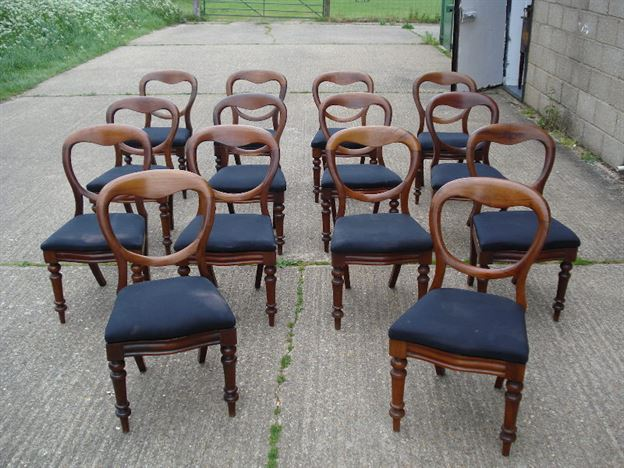 Large Set Of Antiques Chairs - Set Of 14 Fourteen Victorian Mahogany Balloon Back Dining Chairs