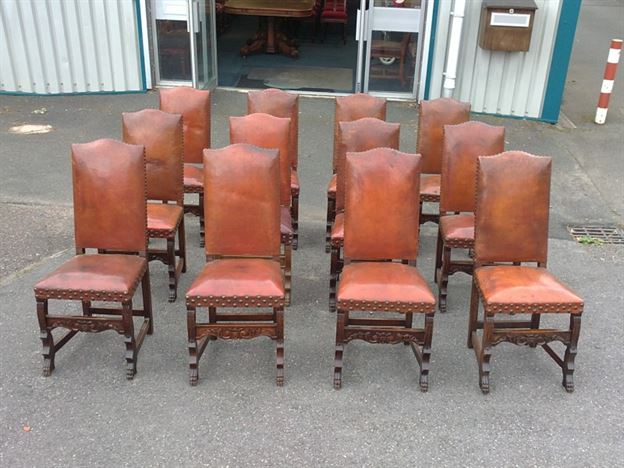 Large Set Of French Chairs - Set of 12 Twelve French Oak High Back Leather  Dining Chairs - ANTIQUE FURNITURE WAREHOUSE - Large Set Of French Chairs - Set Of 12