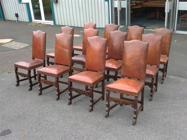 chairs set of 12 twelve french oak high back leather dining chairs
