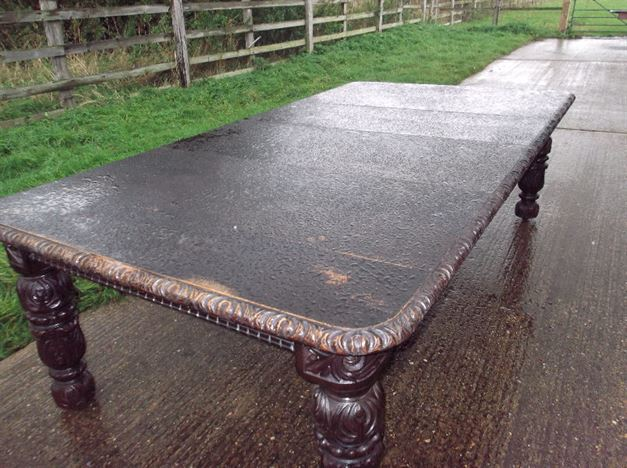 Large Victorian Oak Extending Dining Table - Late 19th Century 10ft Jacobeon Carved Oak Wind Out Dining Table
