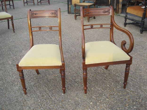 Antique furniture warehouse long set of antique chairs for Long back dining chairs