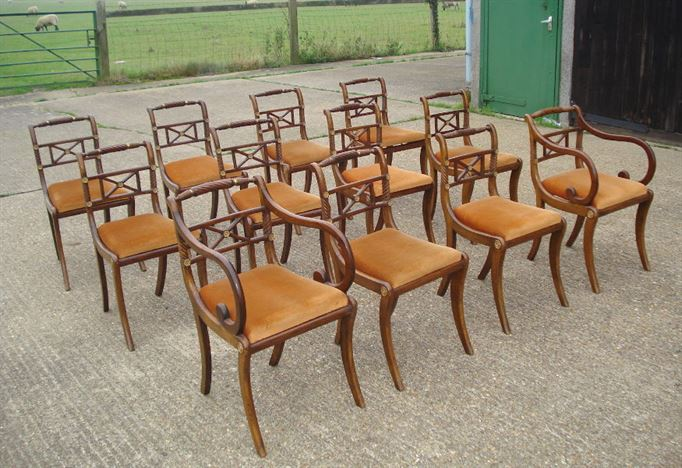 Long Set Of Antique Chairs