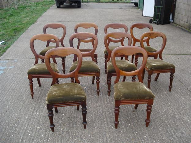 ANTIQUE FURNITURE WAREHOUSE - Long Set of Antiques Chairs - Set of ...