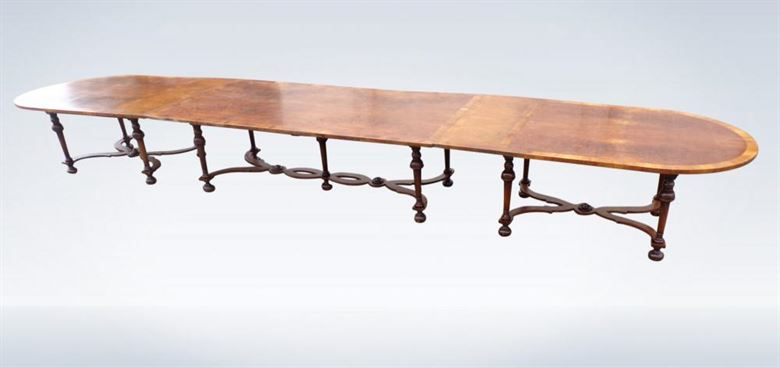 Long Victorian Dining Table Walnut 20ft Seat 24 People