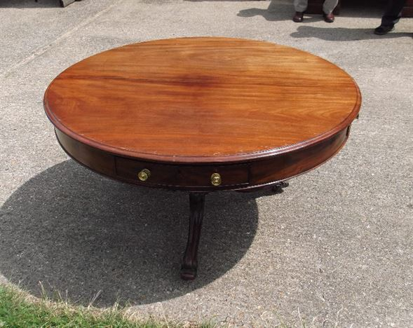 Original Regency Mahogany Drum Table - Large George III Period Mahogany Drum Table