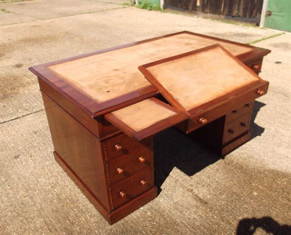 Original Victorian 5ft Mahogany Desk - Large Semi Partnered Victorian Mahogany Pedestal Desk With Turned Handles
