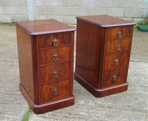 Pair Antique Bedside - Pair Of Victorian Mahogany Bedside Drawers - ANTIQUE FURNITURE WAREHOUSE - Pair Antique Bedside - Pair Of