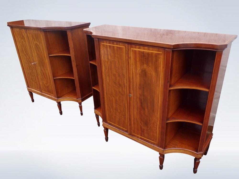 Pair Antique Cabinet Sideboards Consoles In Georgian Sheraton Manner Mahogany