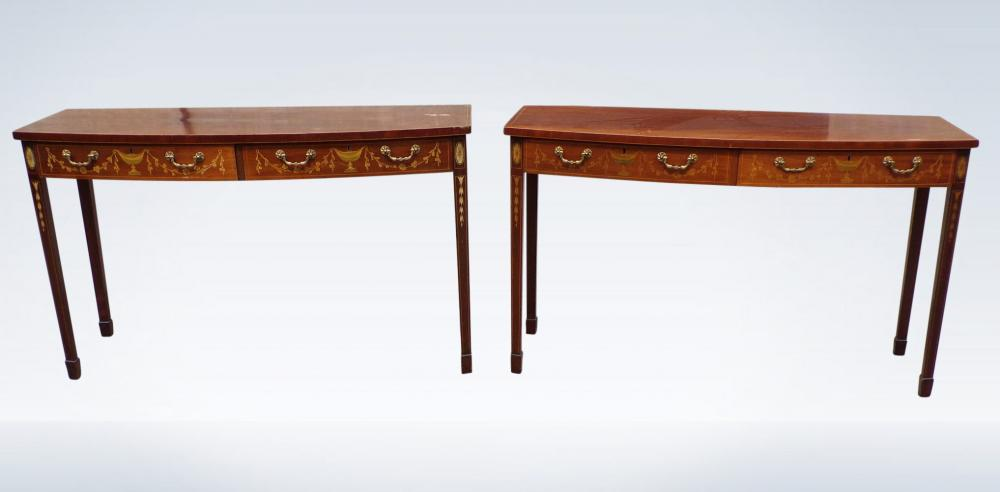Pair Antique Console Tables Georgian Revival Mahogany
